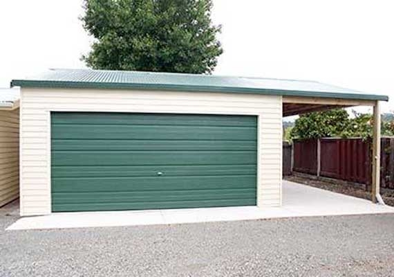 Double garage 6m x 6.6m with extended roofline.